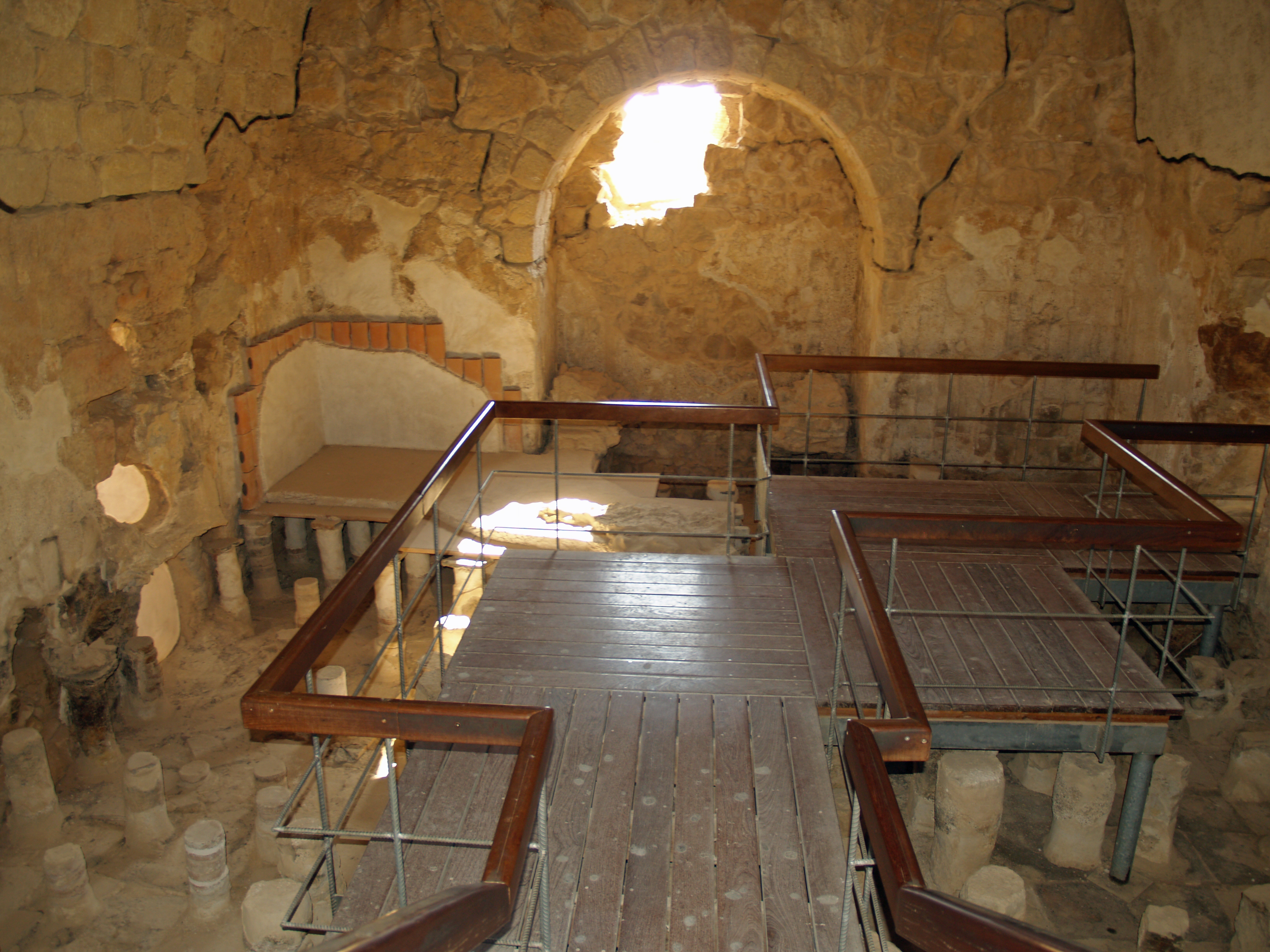 Caldarium from the Roman bath house at Masada, Israel
